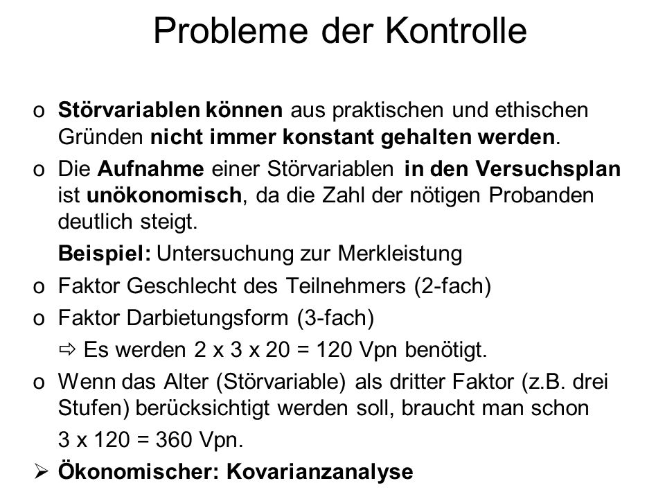 Probleme der Kontrolle