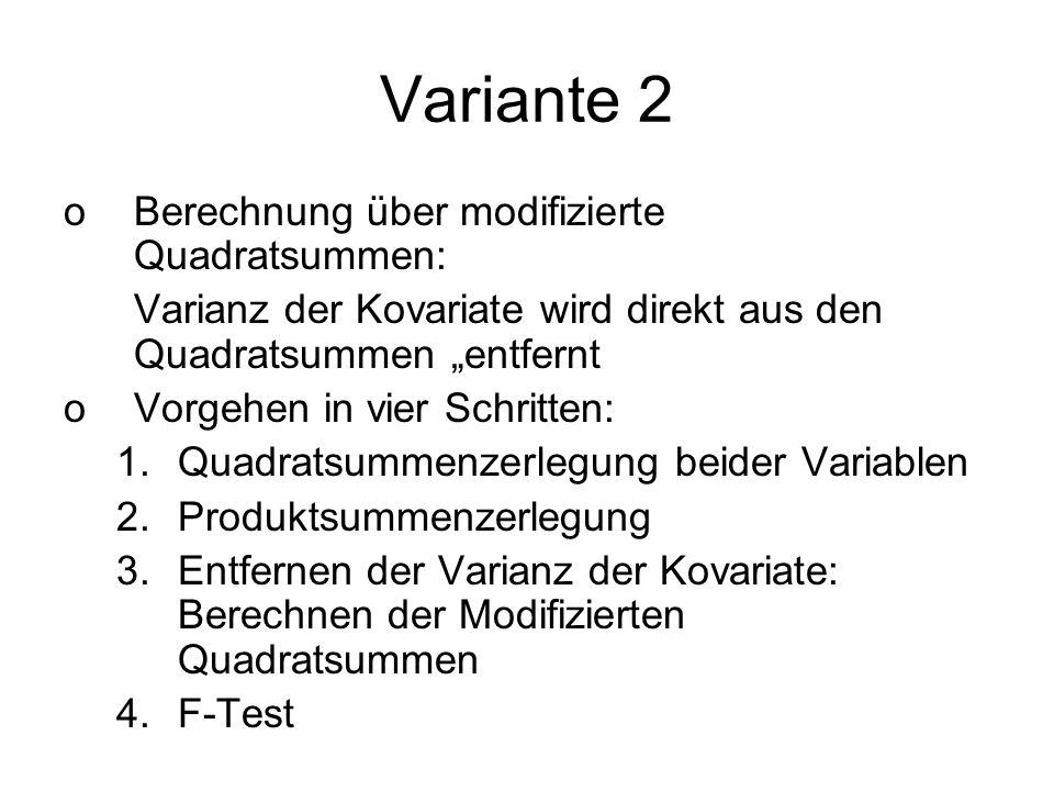 Variante 2 Berechnung über modifizierte Quadratsummen: