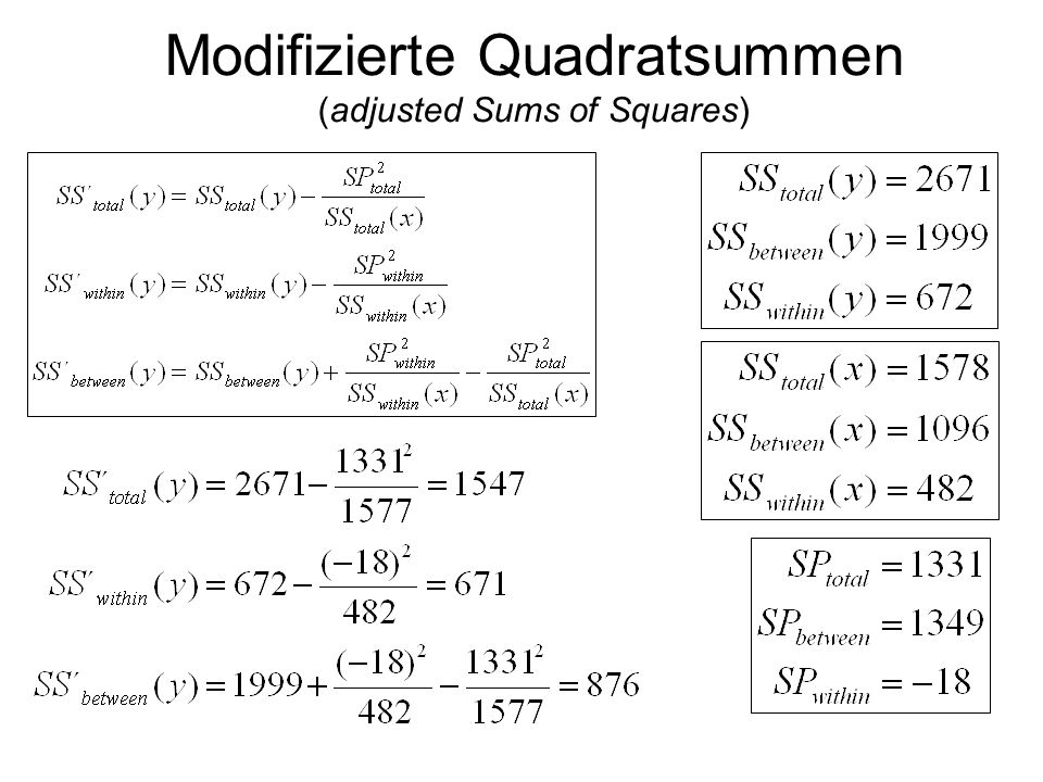 Modifizierte Quadratsummen (adjusted Sums of Squares)