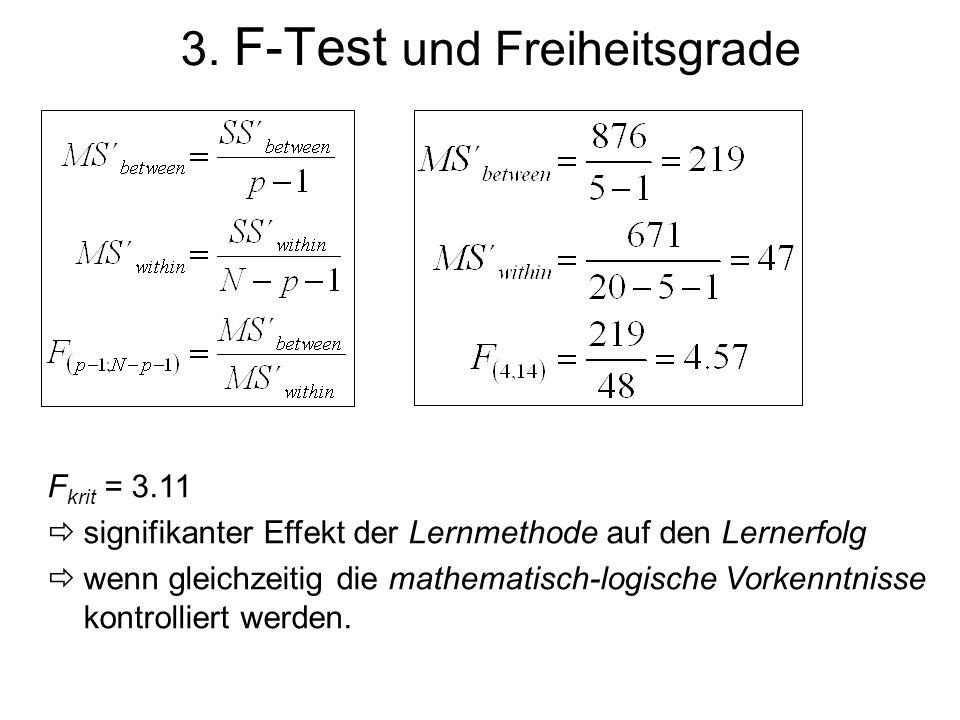 3. F-Test und Freiheitsgrade