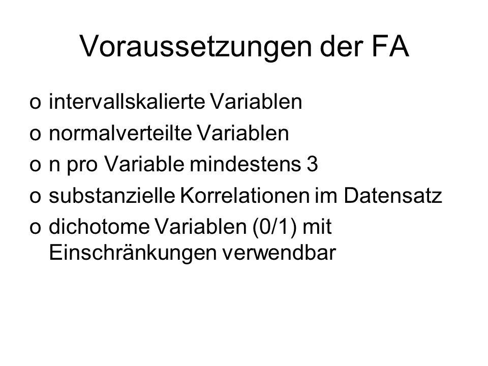Voraussetzungen der FA