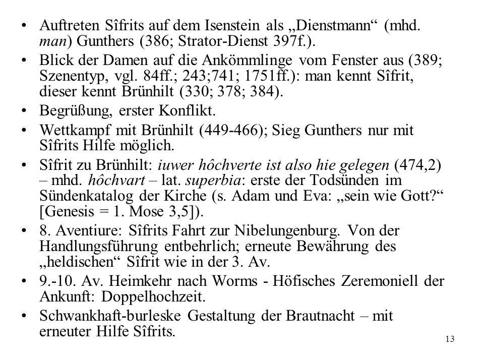 """Auftreten Sîfrits auf dem Isenstein als """"Dienstmann (mhd"""