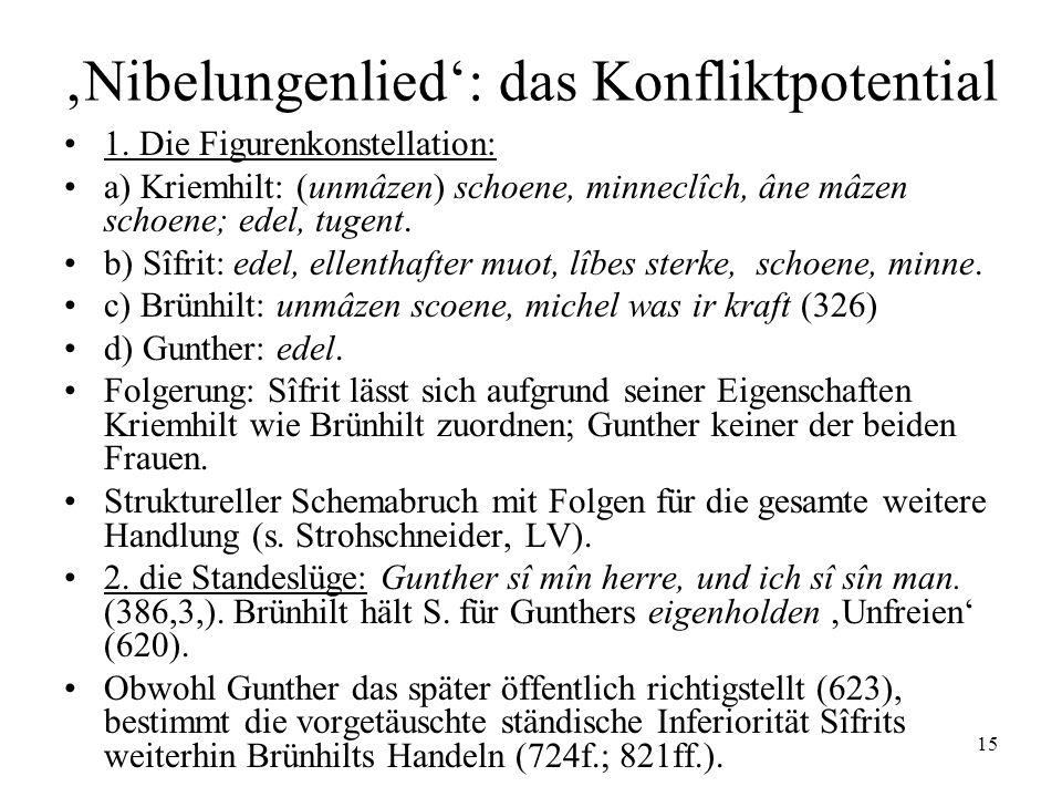 'Nibelungenlied': das Konfliktpotential