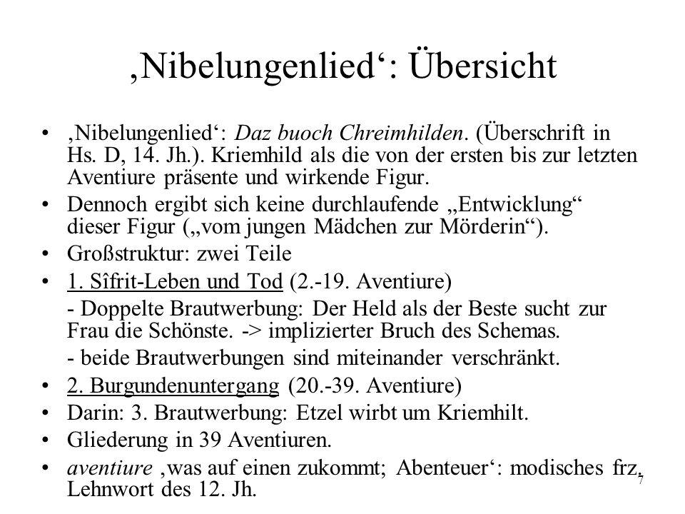 'Nibelungenlied': Übersicht