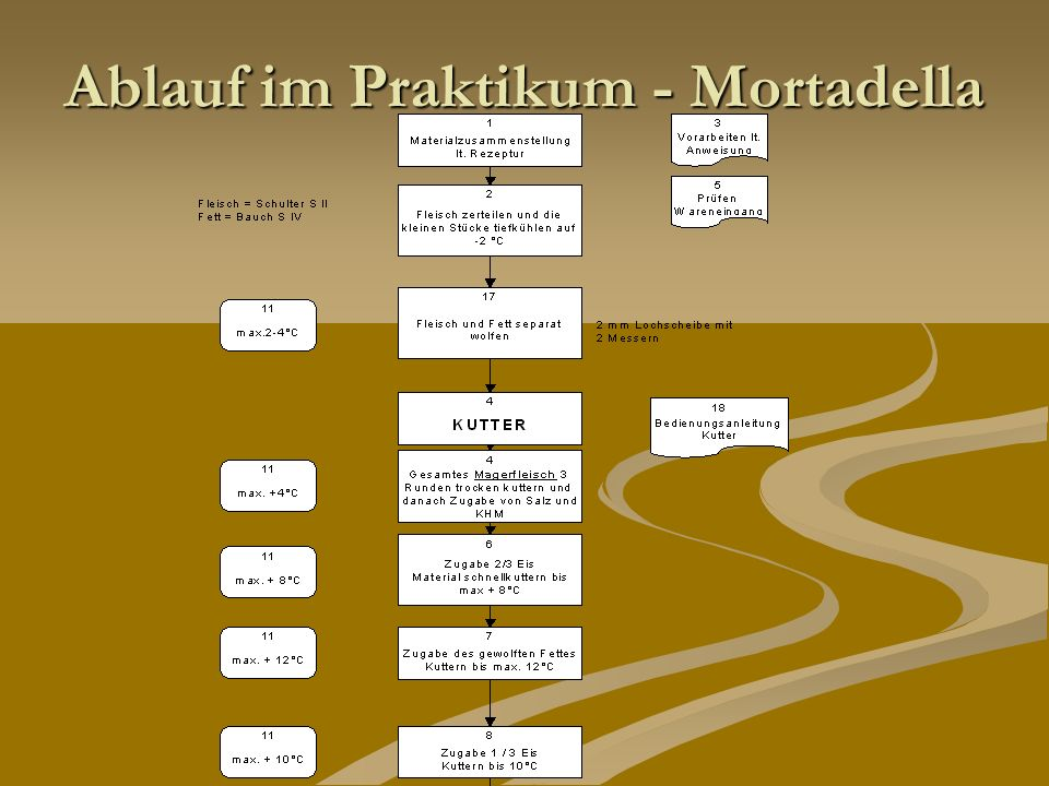 Ablauf im Praktikum - Mortadella