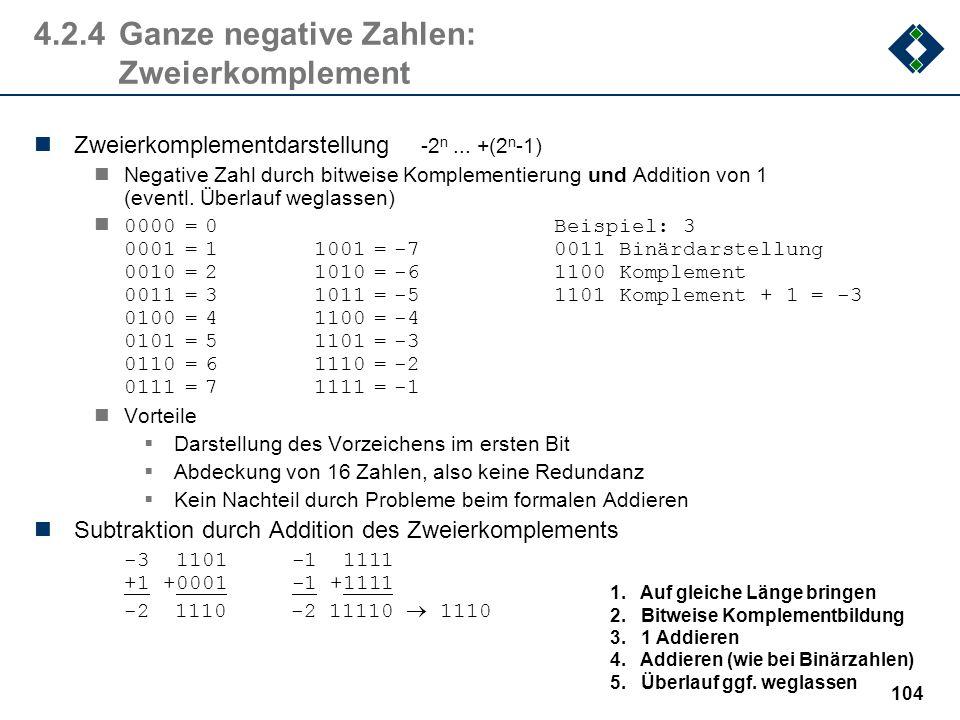 4.2.4 Ganze negative Zahlen: Zweierkomplement