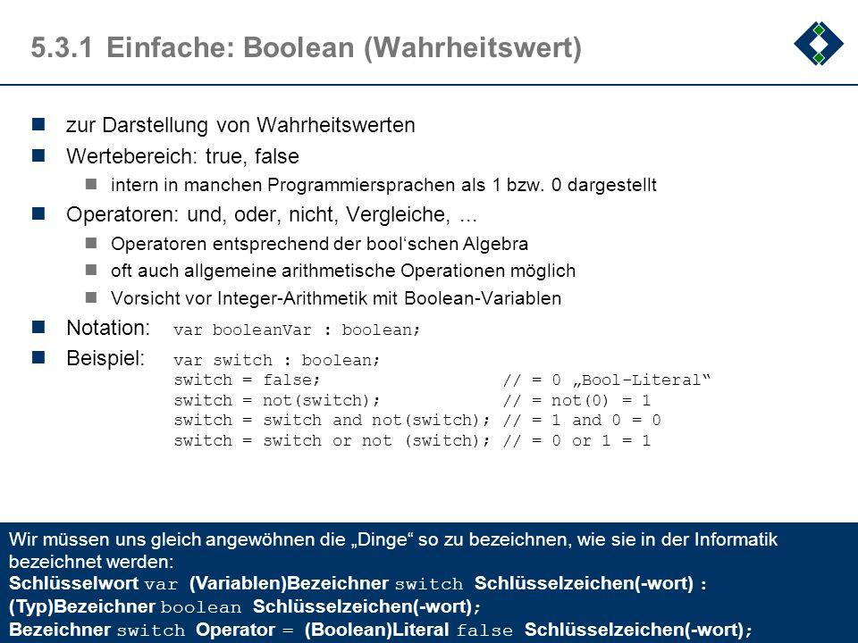 5.3.1 Einfache: Boolean (Wahrheitswert)
