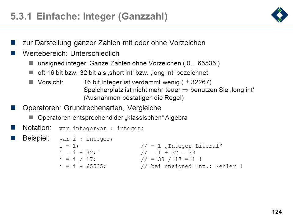 5.3.1 Einfache: Integer (Ganzzahl)