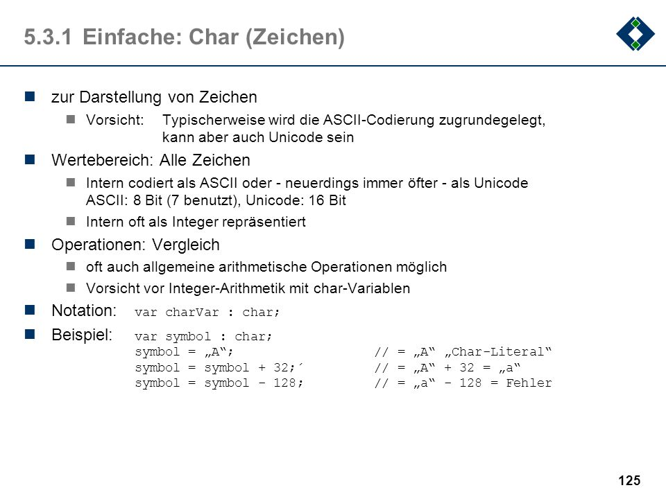 5.3.1 Einfache: Char (Zeichen)