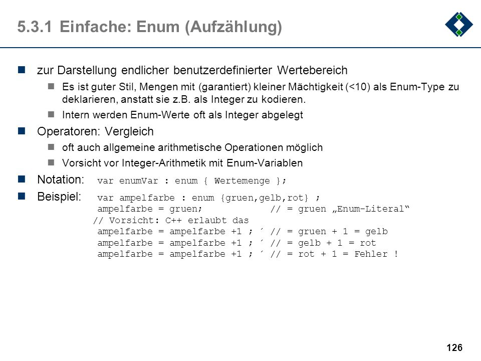 5.3.1 Einfache: Enum (Aufzählung)