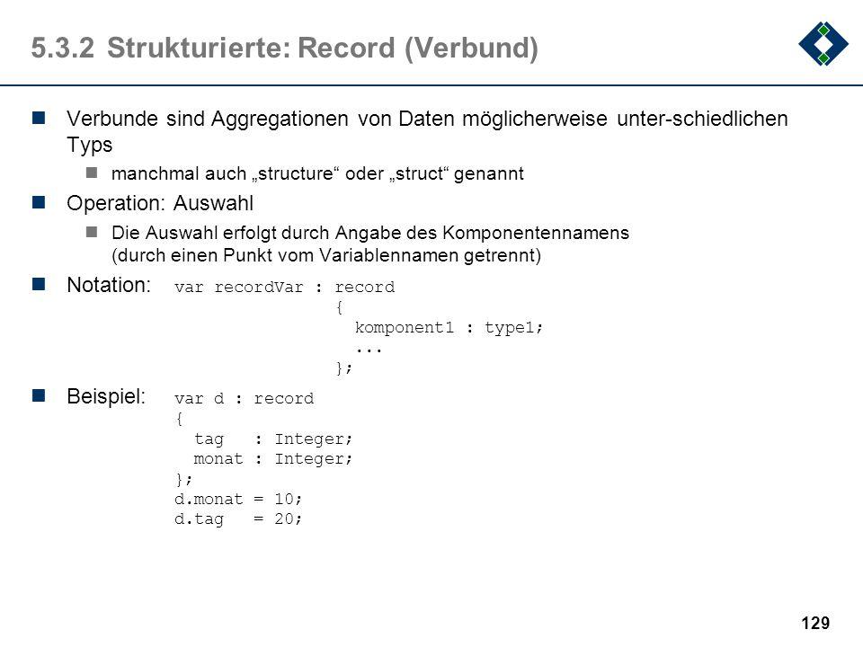 5.3.2 Strukturierte: Record (Verbund)