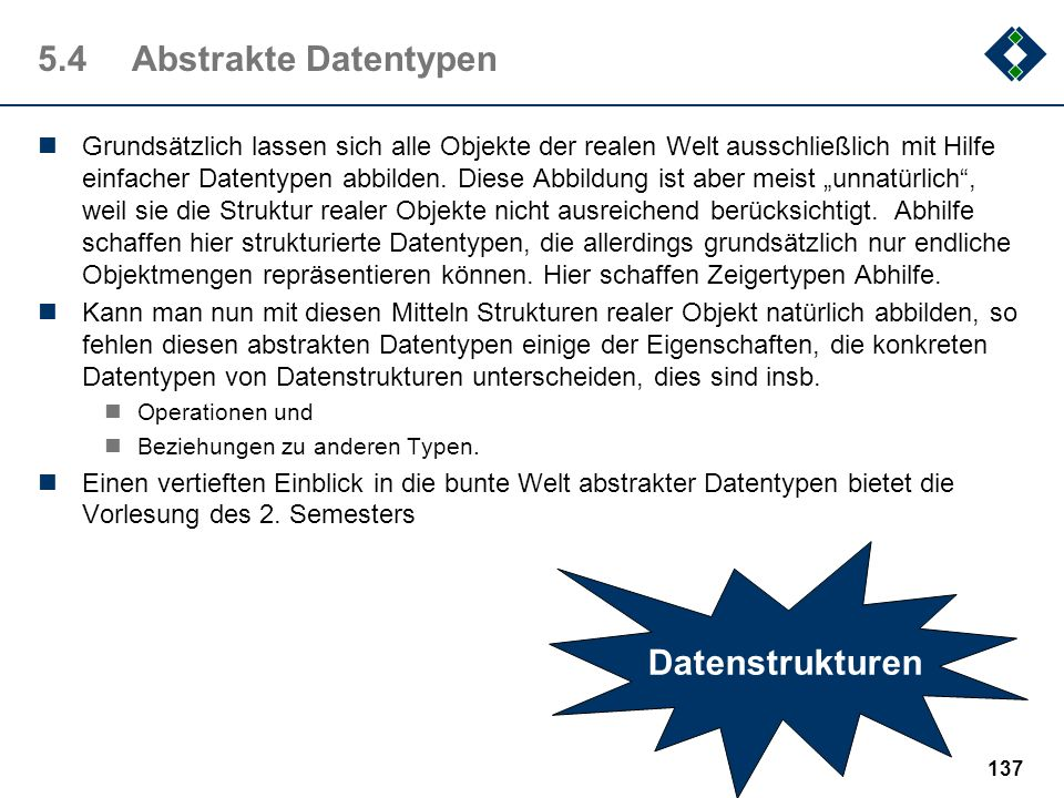 5.4 Abstrakte Datentypen Datenstrukturen