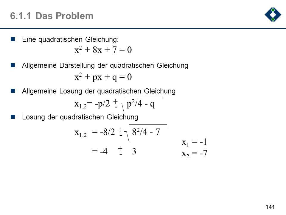 6.1.1 Das Problem x2 + 8x + 7 = 0 x2 + px + q = 0 x1,2= -p/2 p2/4 - q