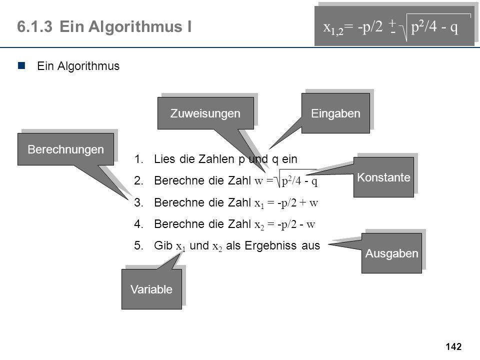 6.1.3 Ein Algorithmus I x1,2= -p/2 p2/4 - q - + Ein Algorithmus