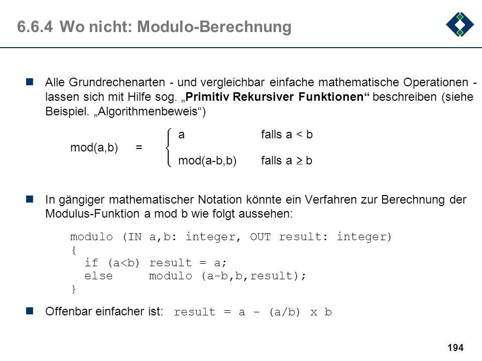 6.6.4 Wo nicht: Modulo-Berechnung