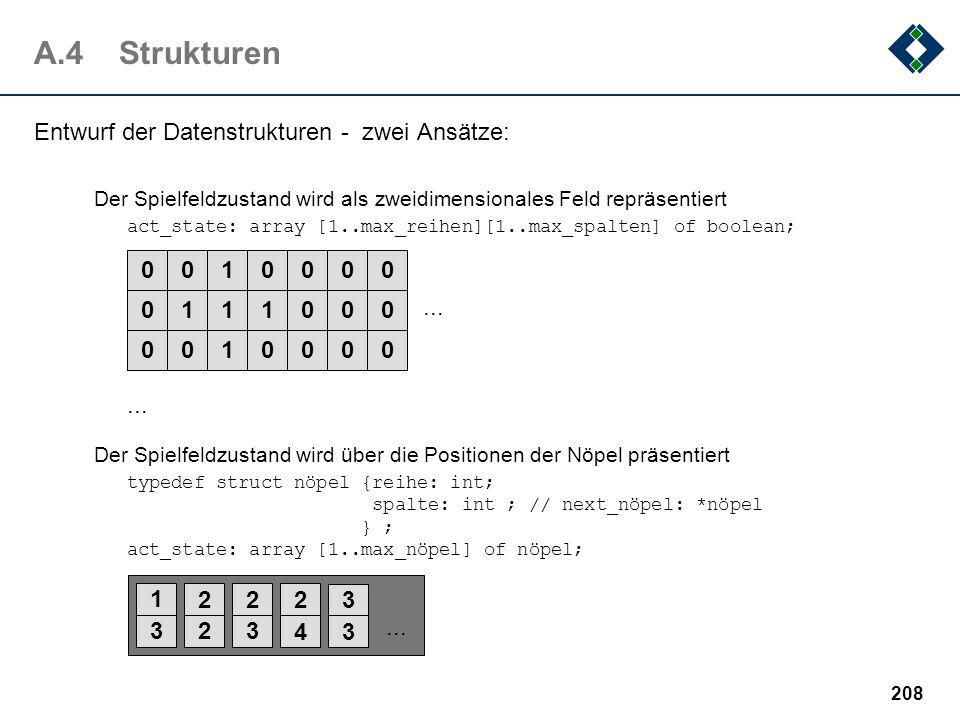 A.4 Strukturen Entwurf der Datenstrukturen - zwei Ansätze: 1 ... 1 3 2