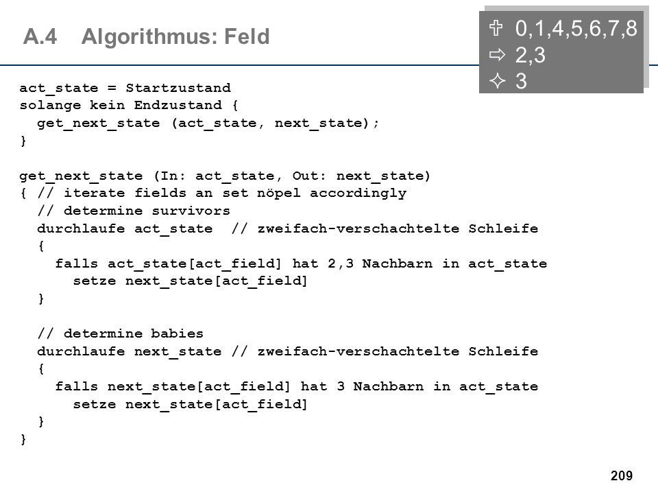 0,1,4,5,6,7,8 2,3. 3. A.4 Algorithmus: Feld. act_state = Startzustand solange kein Endzustand { get_next_state (act_state, next_state); }