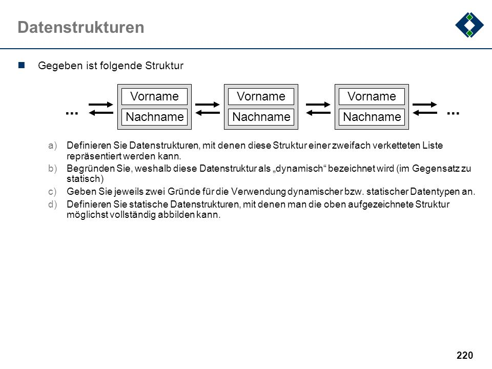 Datenstrukturen ... Vorname Nachname Gegeben ist folgende Struktur