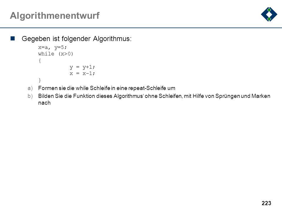 Algorithmenentwurf Gegeben ist folgender Algorithmus: