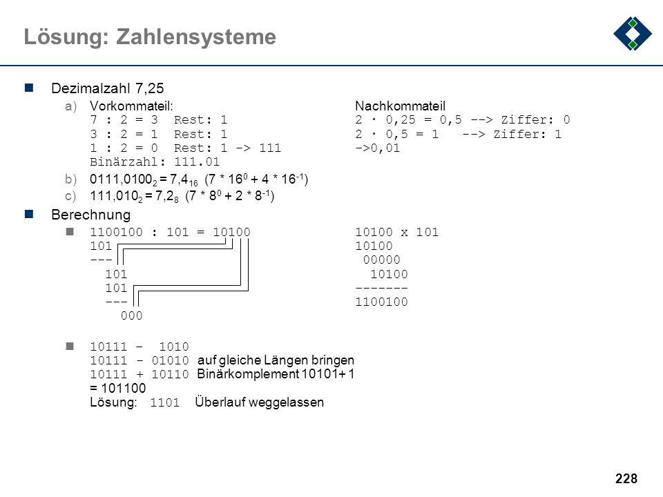 Lösung: Zahlensysteme