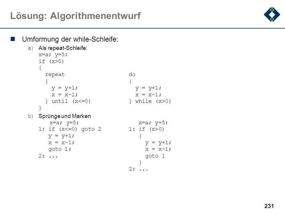 Lösung: Algorithmenentwurf