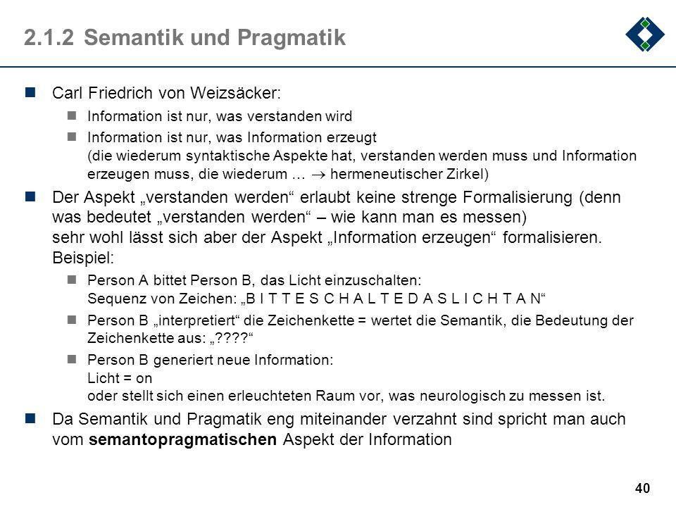 2.1.2 Semantik und Pragmatik