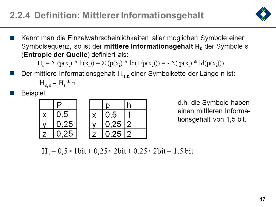 2.2.4 Definition: Mittlerer Informationsgehalt