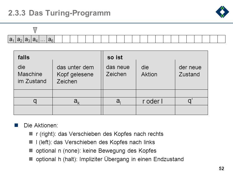 2.3.3 Das Turing-Programm q ak al r oder l q' a1 a2 a3 a4 ... a6 falls