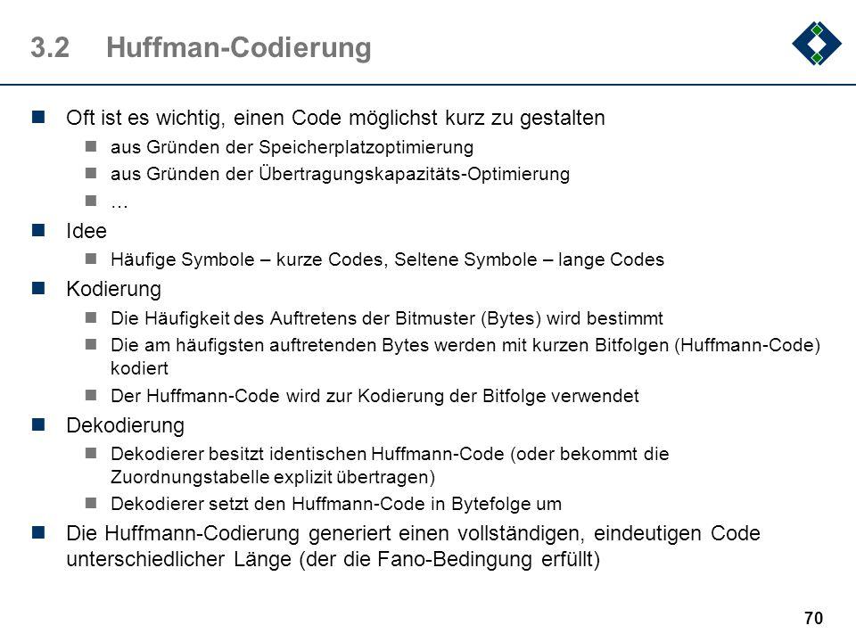 3.2 Huffman-CodierungOft ist es wichtig, einen Code möglichst kurz zu gestalten. aus Gründen der Speicherplatzoptimierung.