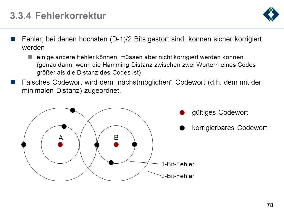 3.3.4 FehlerkorrekturFehler, bei denen höchsten (D-1)/2 Bits gestört sind, können sicher korrigiert werden.