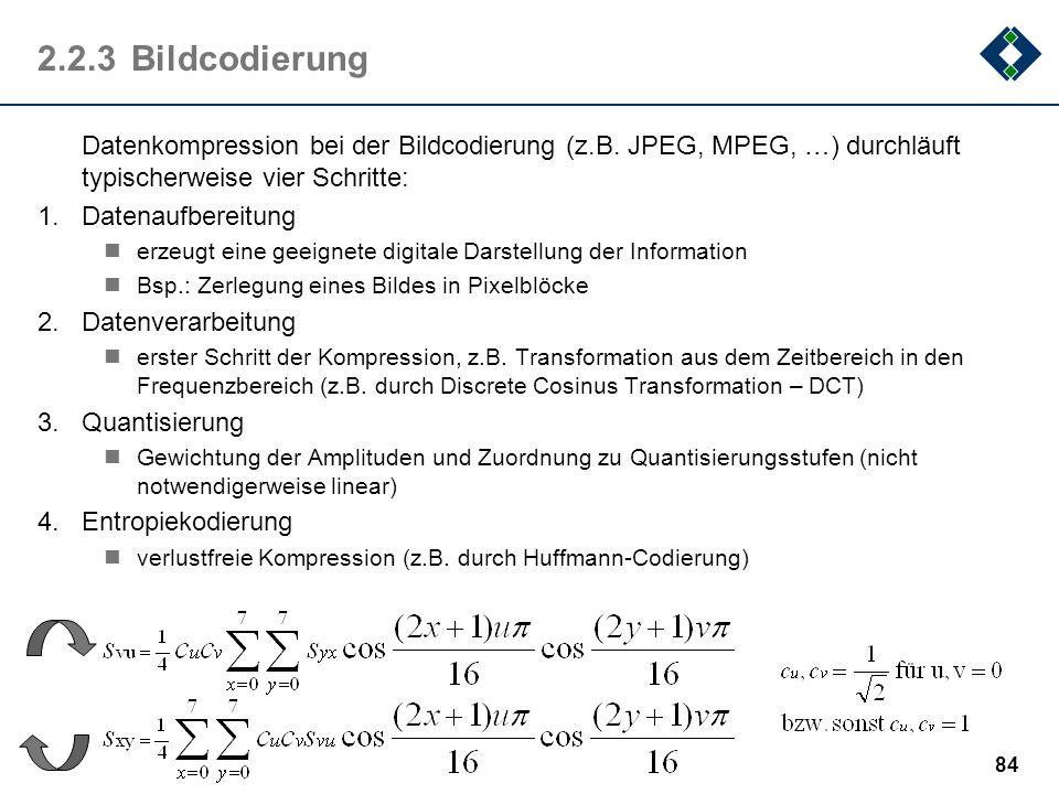 2.2.3 BildcodierungDatenkompression bei der Bildcodierung (z.B. JPEG, MPEG, …) durchläuft typischerweise vier Schritte:
