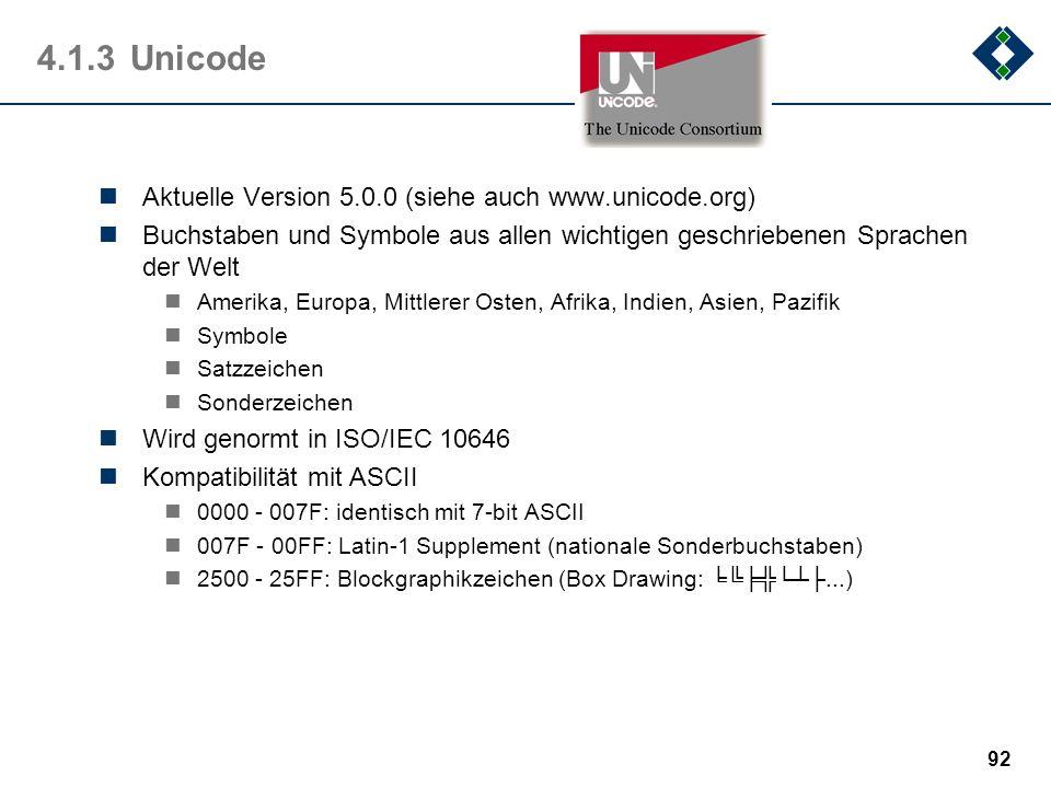 4.1.3 Unicode Aktuelle Version 5.0.0 (siehe auch www.unicode.org)