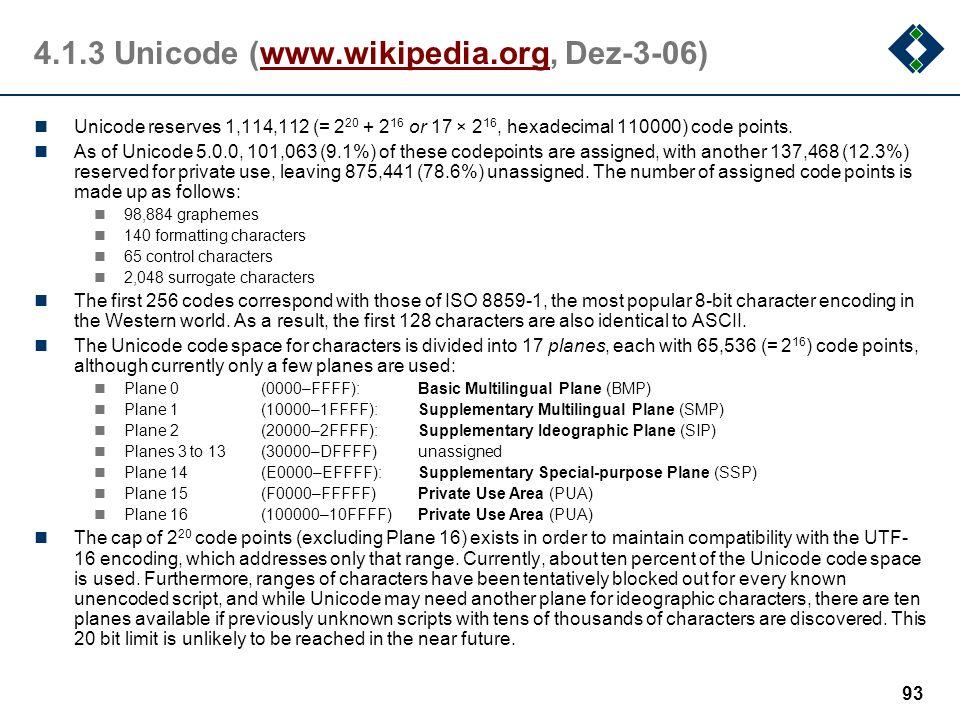 4.1.3 Unicode (www.wikipedia.org, Dez-3-06)