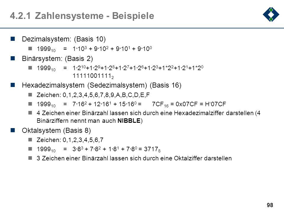 4.2.1 Zahlensysteme - Beispiele