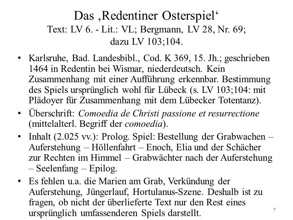 Das 'Redentiner Osterspiel' Text: LV 6. - Lit