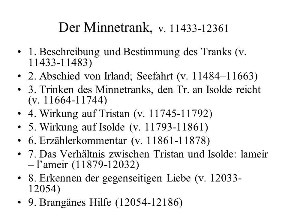 Der Minnetrank, v. 11433-12361 1. Beschreibung und Bestimmung des Tranks (v. 11433-11483) 2. Abschied von Irland; Seefahrt (v. 11484–11663)