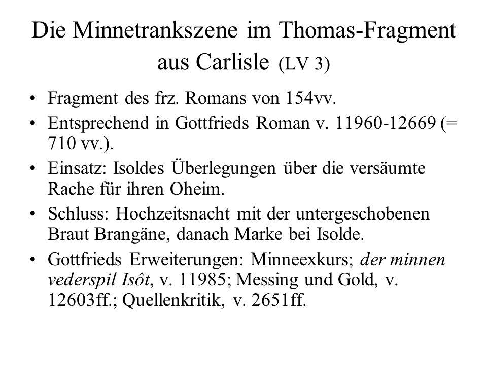 Die Minnetrankszene im Thomas-Fragment aus Carlisle (LV 3)