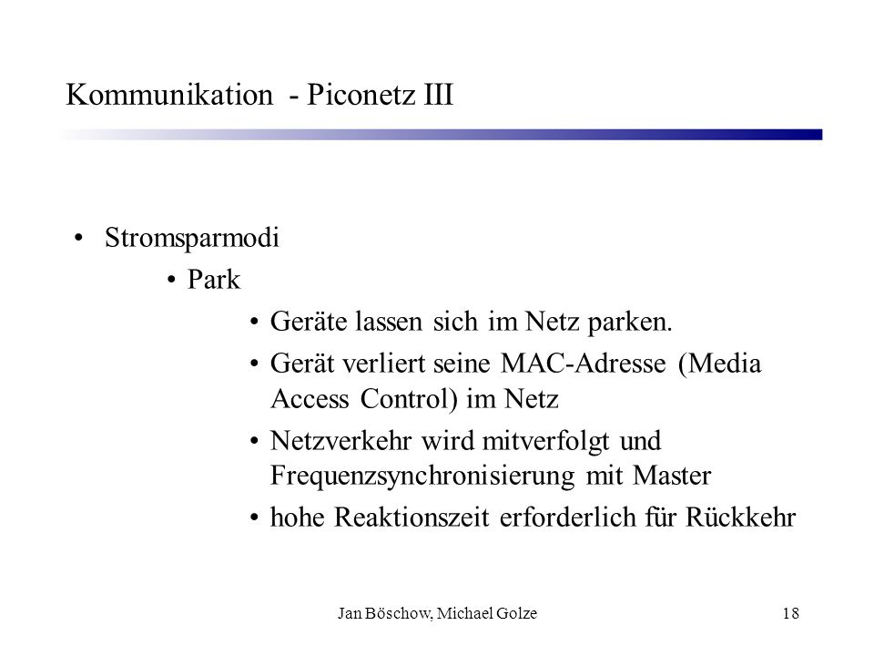 Kommunikation - Piconetz III