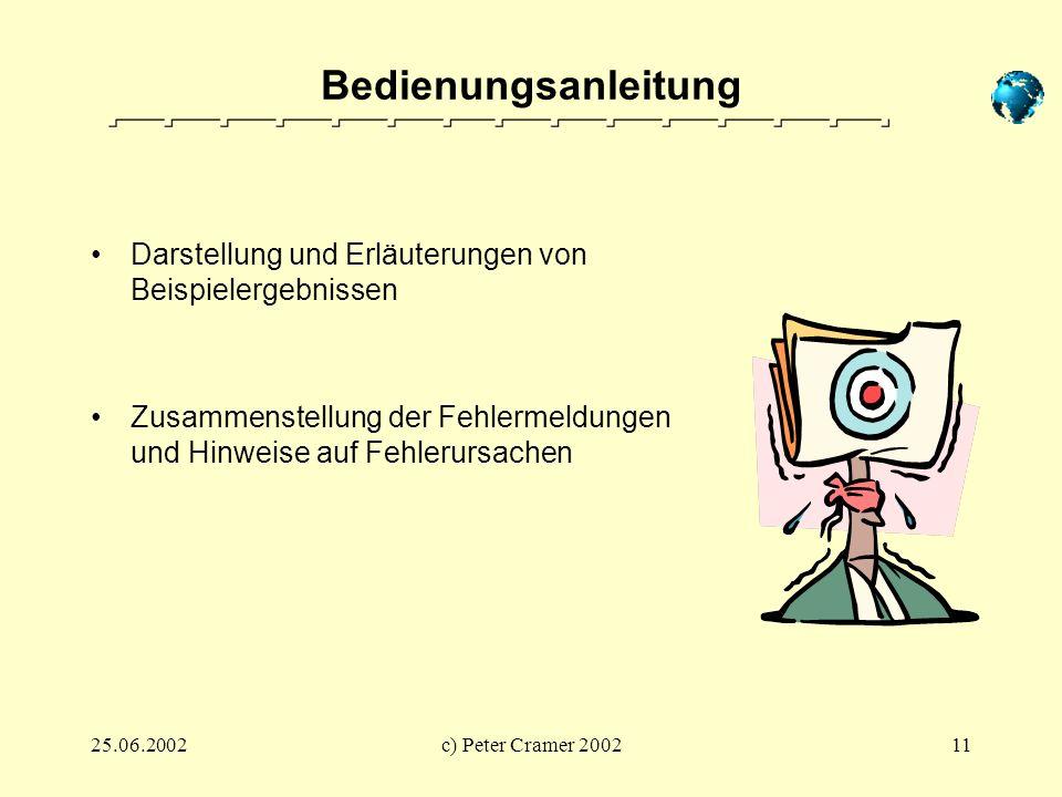 BedienungsanleitungDarstellung und Erläuterungen von Beispielergebnissen. Zusammenstellung der Fehlermeldungen und Hinweise auf Fehlerursachen.