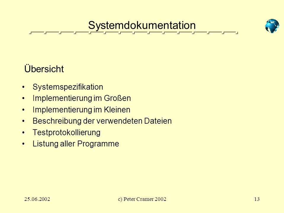 Systemdokumentation Übersicht Systemspezifikation