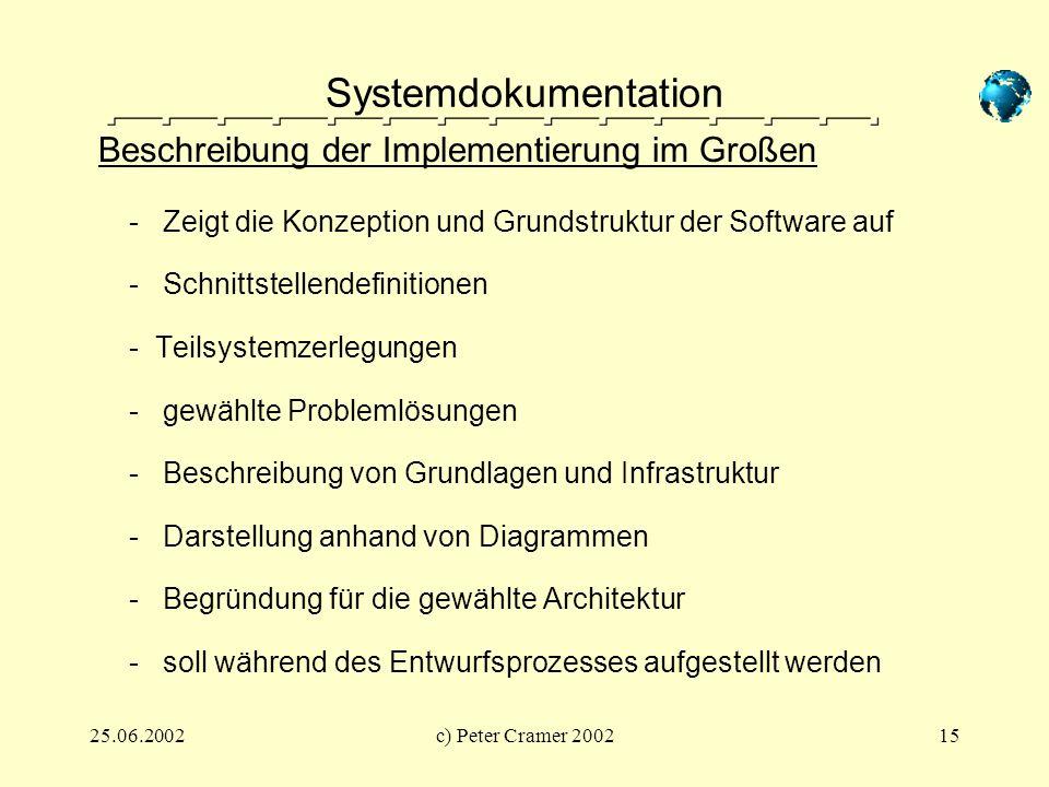 Systemdokumentation Beschreibung der Implementierung im Großen