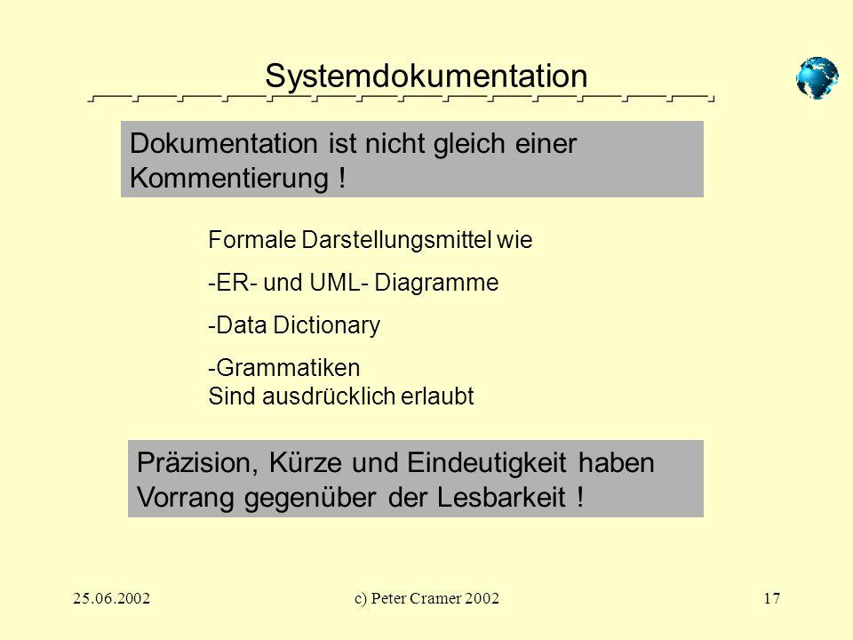 Systemdokumentation Dokumentation ist nicht gleich einer Kommentierung ! Formale Darstellungsmittel wie.