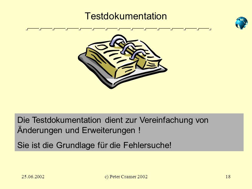 Testdokumentation Die Testdokumentation dient zur Vereinfachung von Änderungen und Erweiterungen ! Sie ist die Grundlage für die Fehlersuche!
