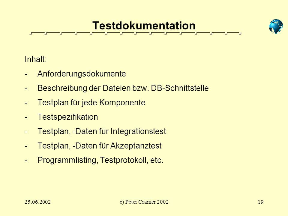 Testdokumentation Inhalt: Anforderungsdokumente
