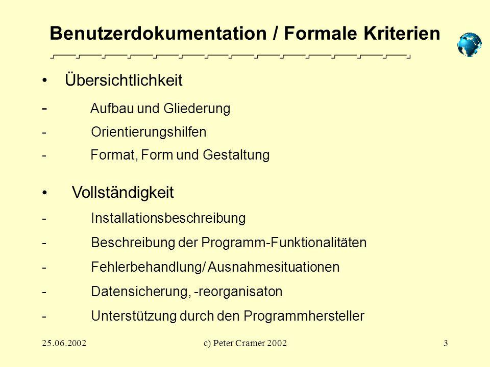 Benutzerdokumentation / Formale Kriterien