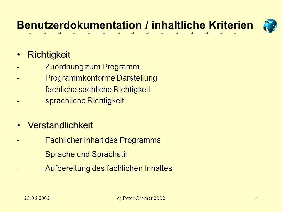 Benutzerdokumentation / inhaltliche Kriterien