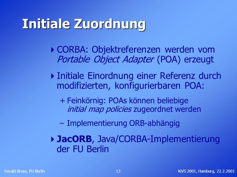 Initiale ZuordnungCORBA: Objektreferenzen werden vom Portable Object Adapter (POA) erzeugt.