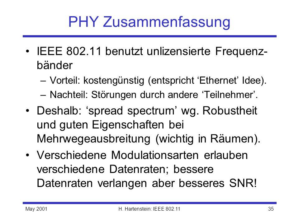 PHY Zusammenfassung IEEE 802.11 benutzt unlizensierte Frequenz-bänder