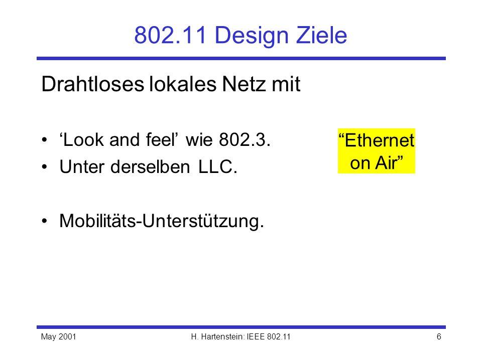 802.11 Design Ziele Drahtloses lokales Netz mit