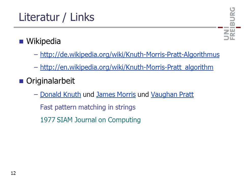 Literatur / Links Wikipedia Originalarbeit